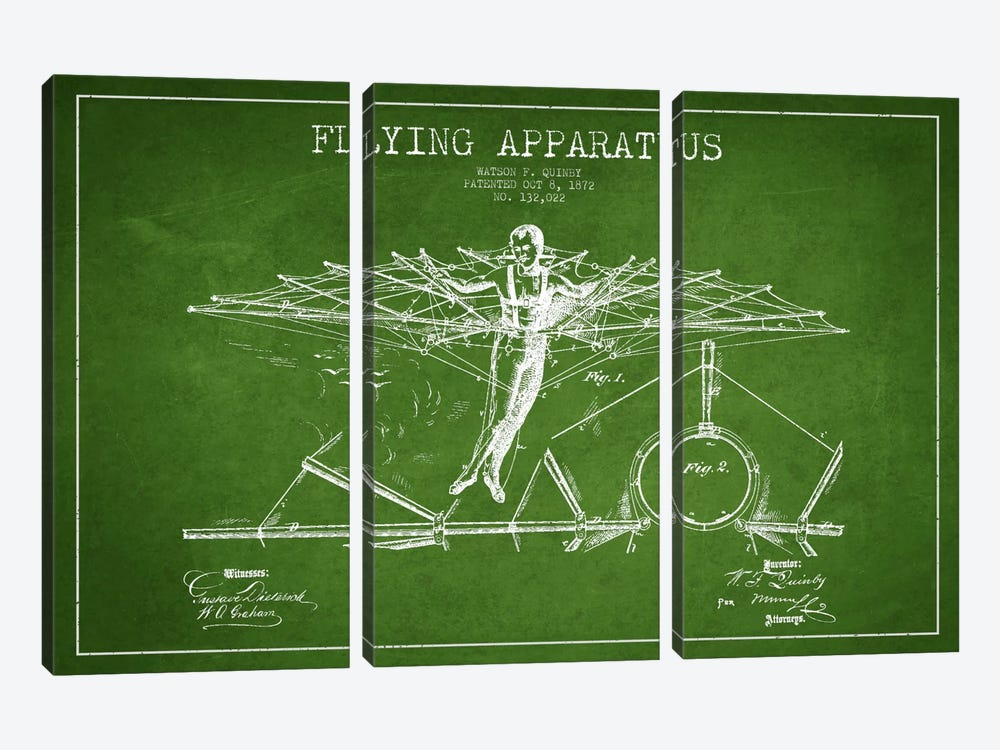 Flying Apparatus Green Patent Blueprint by Aged Pixel 3-piece Canvas Print