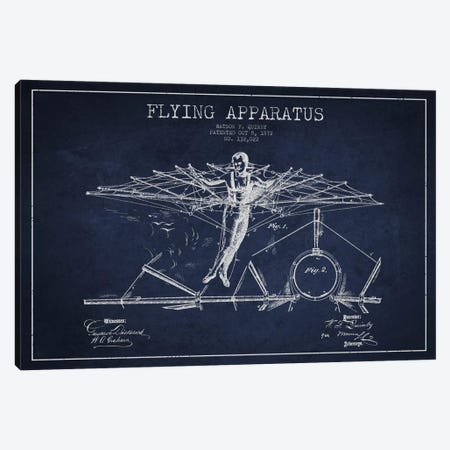 Flying Apparatus Navy Blue Patent Blueprint Canvas Print #ADP2377} by Aged Pixel Canvas Print