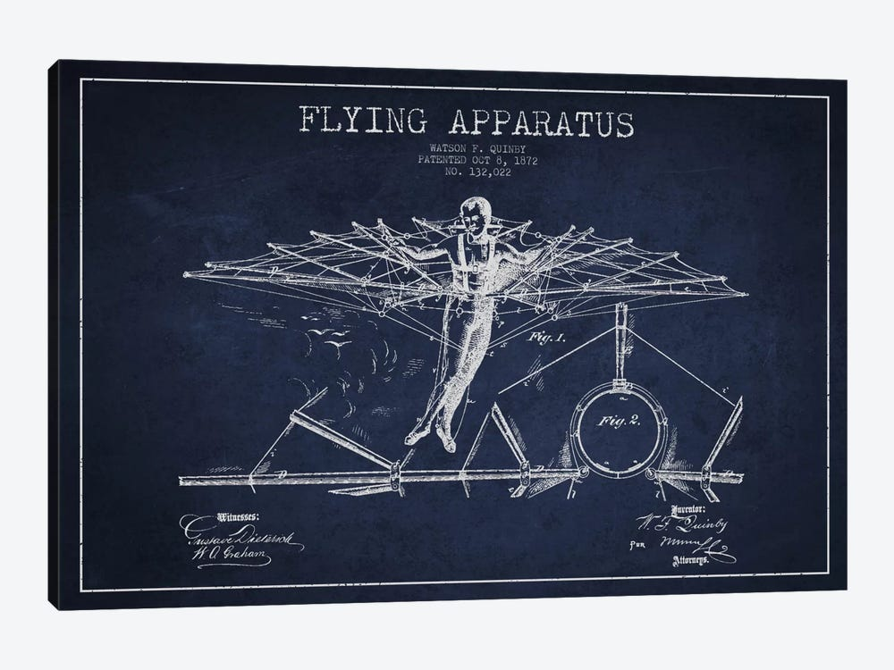 Flying Apparatus Navy Blue Patent Blueprint by Aged Pixel 1-piece Canvas Wall Art