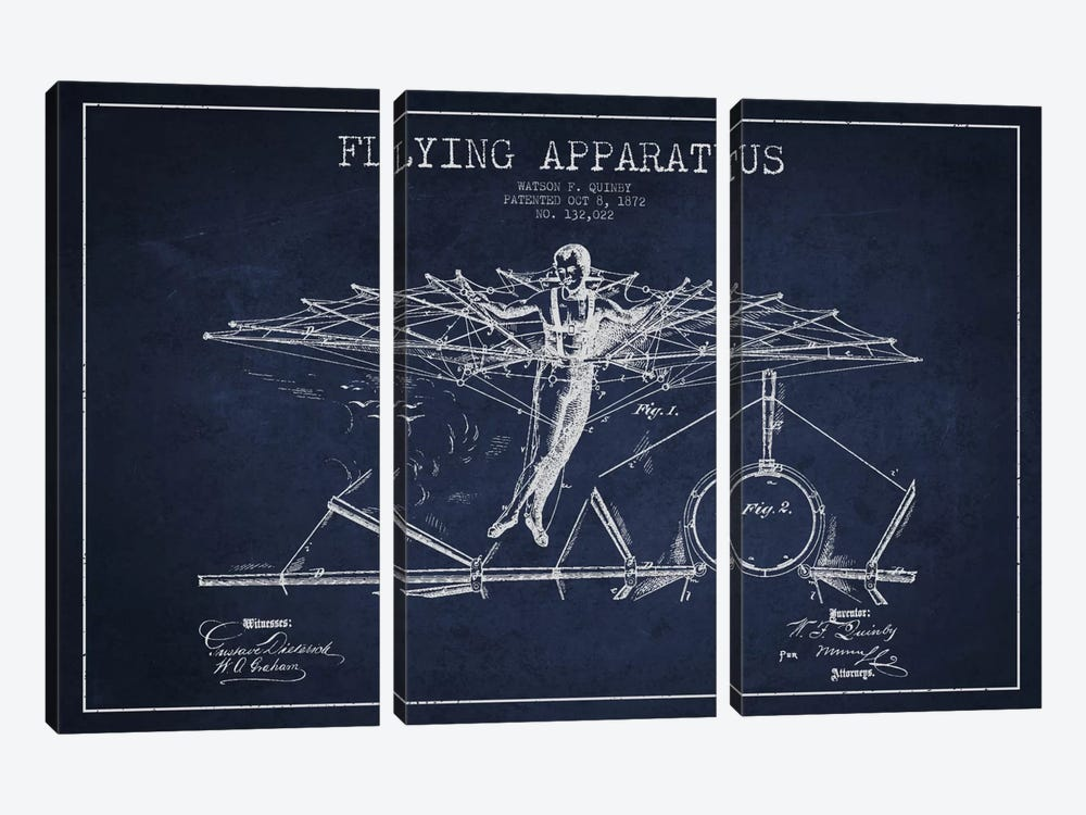 Flying Apparatus Navy Blue Patent Blueprint by Aged Pixel 3-piece Canvas Wall Art