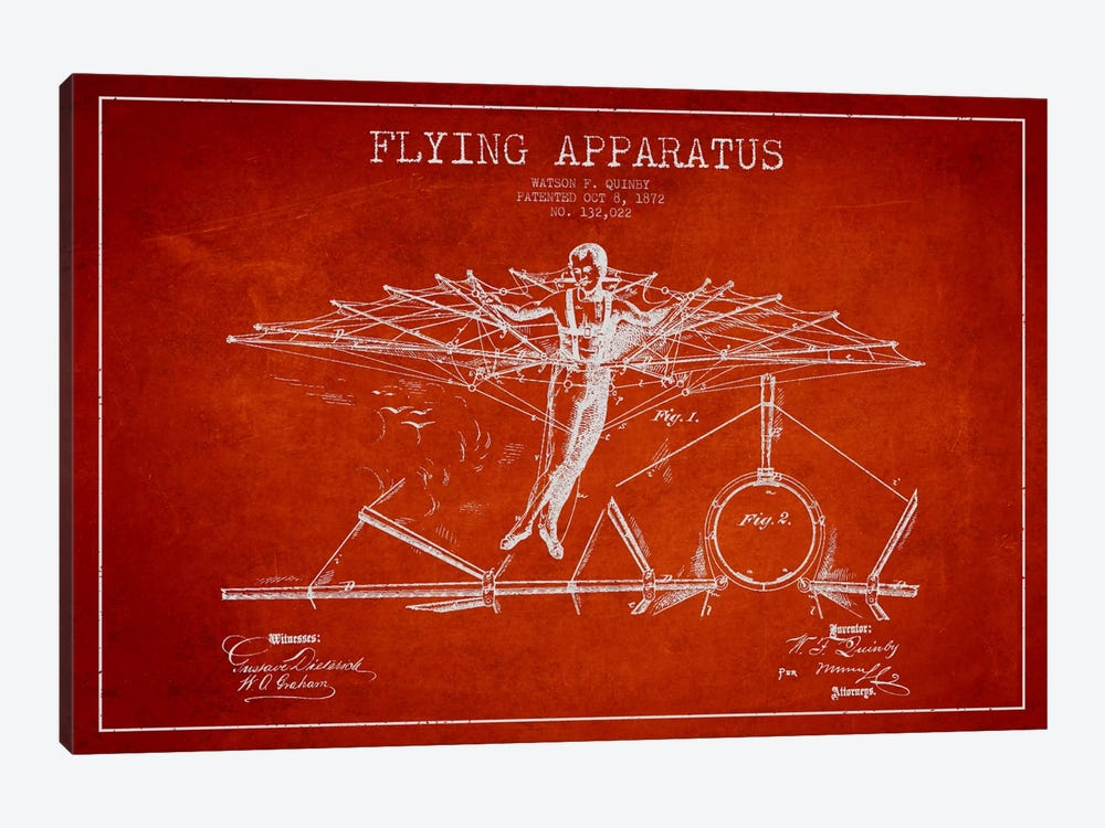 Flying Apparatus Red Patent Blueprint by Aged Pixel 1-piece Canvas Art Print