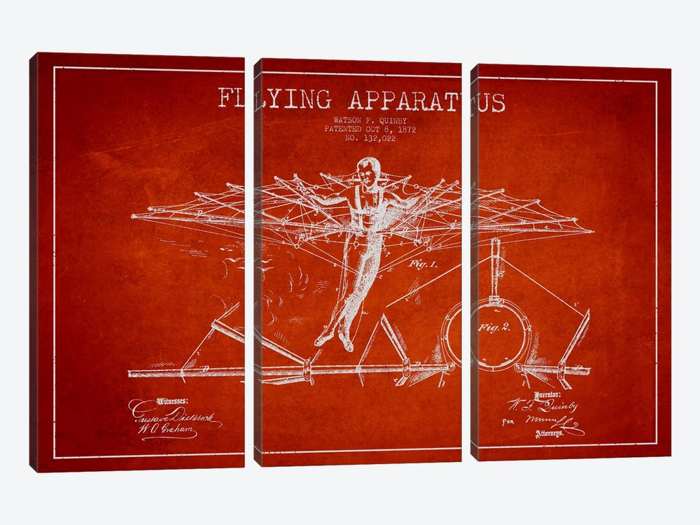 Flying Apparatus Red Patent Blueprint by Aged Pixel 3-piece Canvas Print