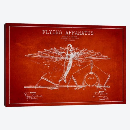 Flying Apparatus Red Patent Blueprint Canvas Print #ADP2378} by Aged Pixel Canvas Wall Art