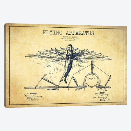 Flying Apparatus Vintage Patent Blueprint Canvas Print #ADP2379} by Aged Pixel Canvas Art