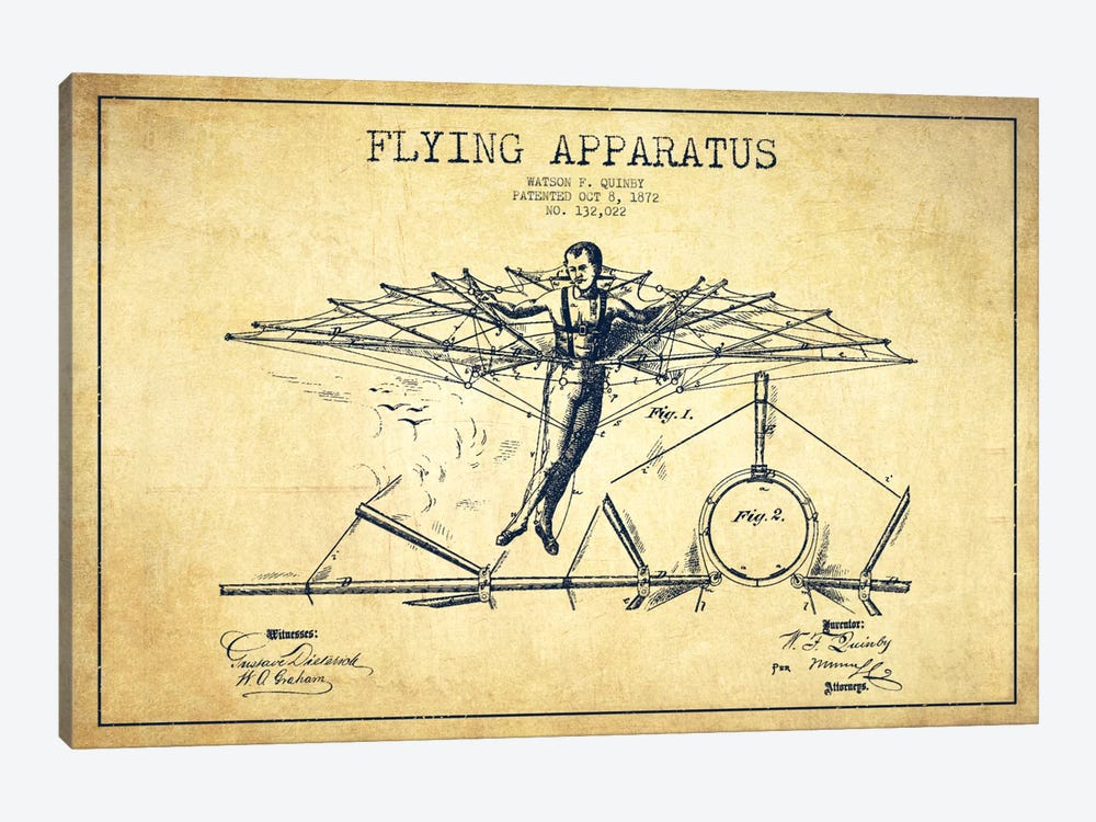 Flying Apparatus Vintage Patent Blueprint by Aged Pixel 1-piece Canvas Wall Art