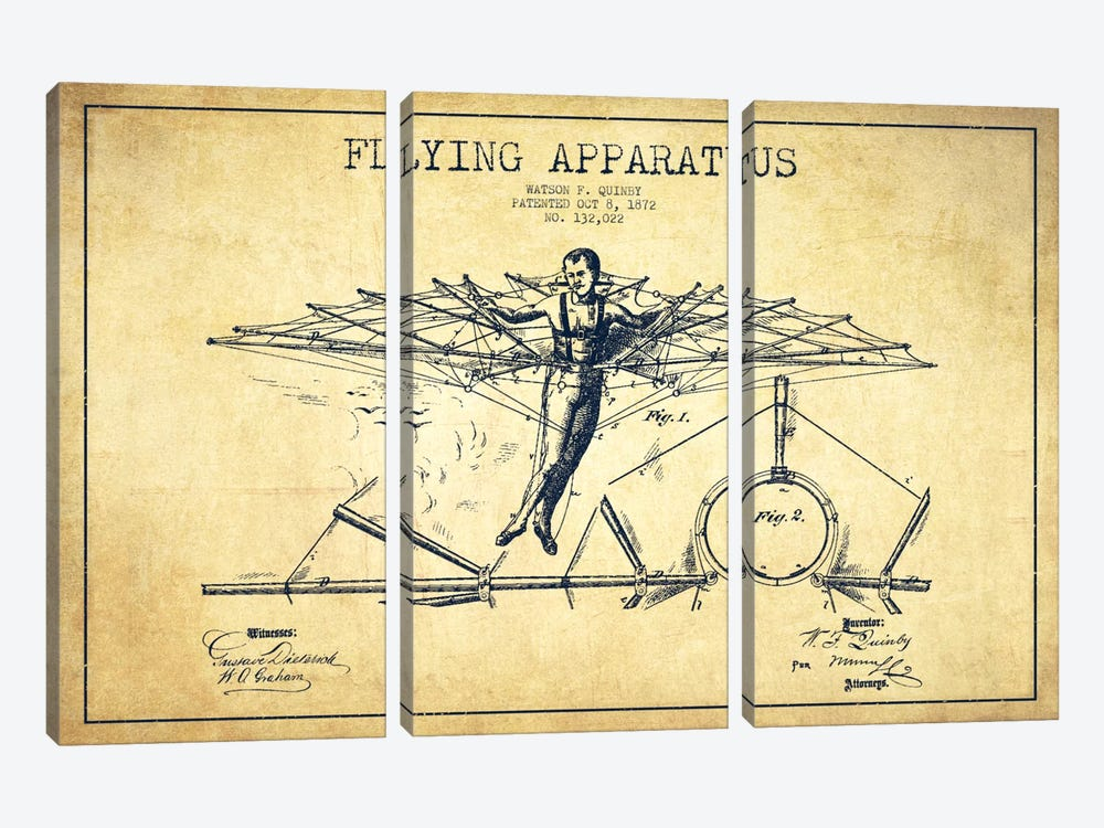 Flying Apparatus Vintage Patent Blueprint by Aged Pixel 3-piece Canvas Artwork