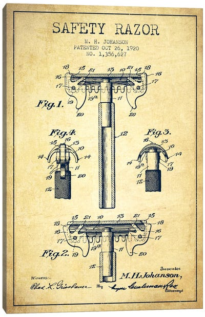 Razor Vintage Patent Blueprint Canvas Art Print