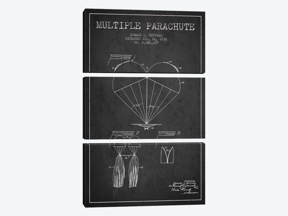 Multiple Parachute Charcoal Patent Blueprint by Aged Pixel 3-piece Canvas Wall Art