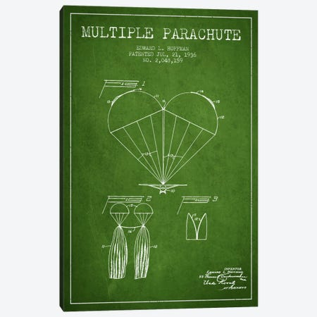 Multiple Parachute Green Patent Blueprint Canvas Print #ADP2381} by Aged Pixel Canvas Art Print