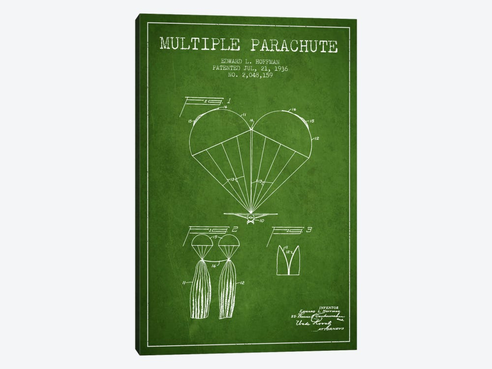 Multiple Parachute Green Patent Blueprint by Aged Pixel 1-piece Canvas Print