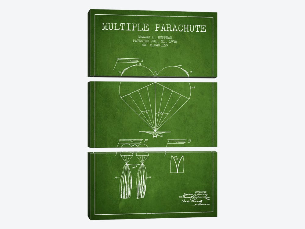 Multiple Parachute Green Patent Blueprint by Aged Pixel 3-piece Canvas Print