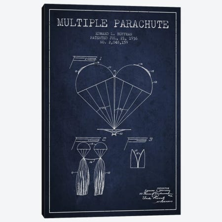 Multiple Parachute Navy Blue Patent Blueprint Canvas Print #ADP2382} by Aged Pixel Canvas Print