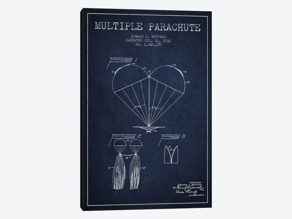 Multiple Parachute Navy Blue Patent Blueprint by Aged Pixel 1-piece Canvas Wall Art