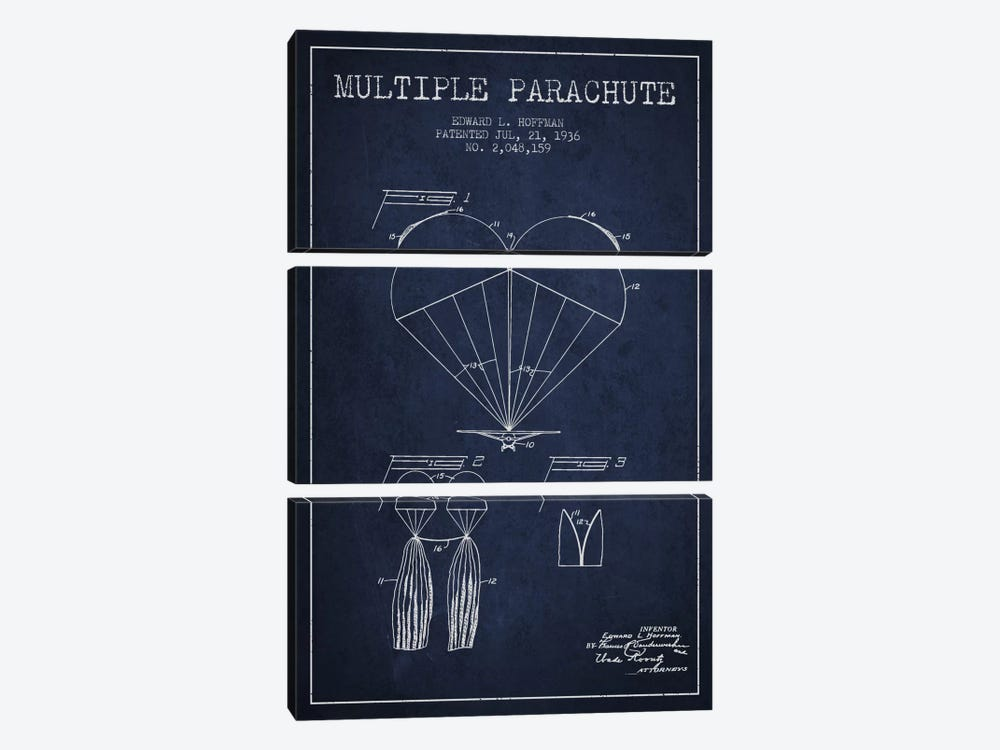Multiple Parachute Navy Blue Patent Blueprint by Aged Pixel 3-piece Canvas Artwork