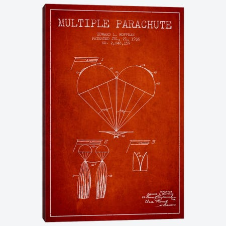 Multiple Parachute Red Patent Blueprint Canvas Print #ADP2383} by Aged Pixel Art Print