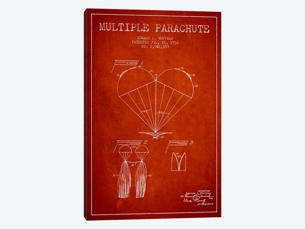 Multiple Parachute Red Patent Blueprint by Aged Pixel 1-piece Canvas Print