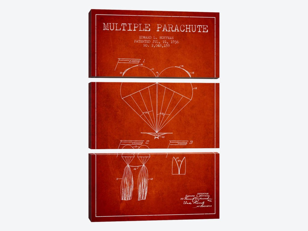 Multiple Parachute Red Patent Blueprint by Aged Pixel 3-piece Canvas Print