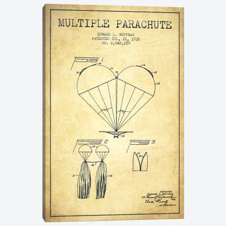 Multiple Parachute Vintage Patent Blueprint Canvas Print #ADP2384} by Aged Pixel Canvas Artwork