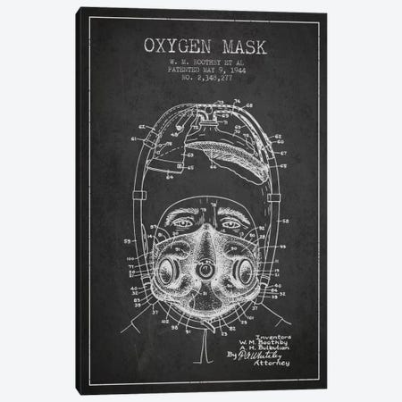 Oxygen Mask 1 Charcoal Patent Blueprint Canvas Print #ADP2385} by Aged Pixel Canvas Art
