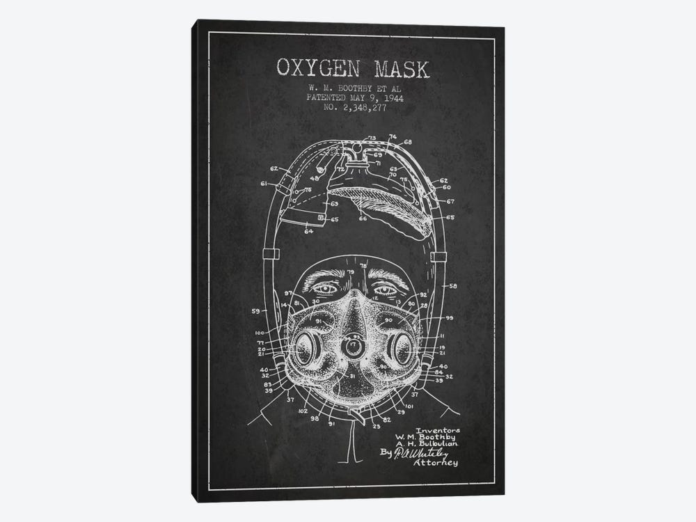 Oxygen Mask 1 Charcoal Patent Blueprint by Aged Pixel 1-piece Canvas Print