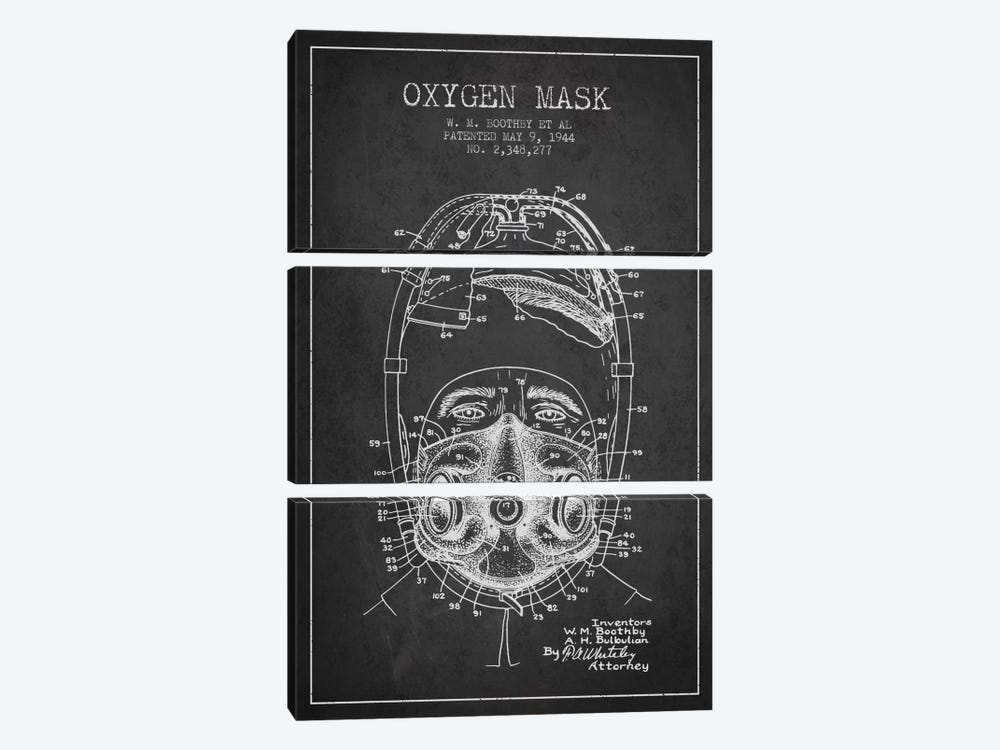 Oxygen Mask 1 Charcoal Patent Blueprint by Aged Pixel 3-piece Canvas Art Print