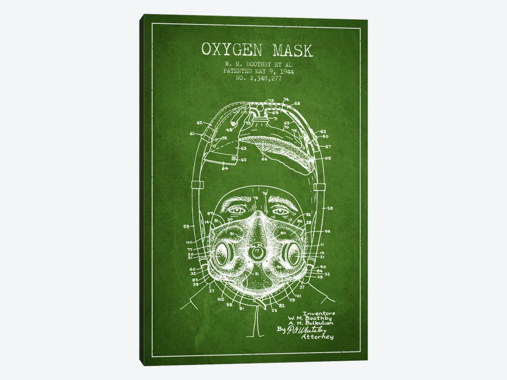 Oxygen Mask 1 Green Patent Blueprint by Aged Pixel 1-piece Canvas Wall Art