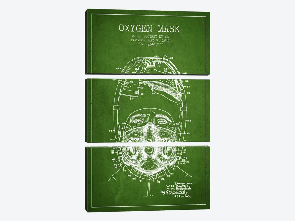 Oxygen Mask 1 Green Patent Blueprint by Aged Pixel 3-piece Canvas Artwork