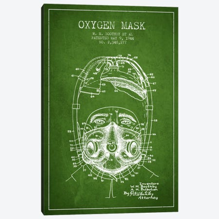 Oxygen Mask 1 Green Patent Blueprint Canvas Print #ADP2386} by Aged Pixel Canvas Artwork