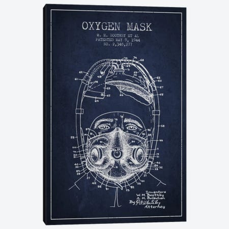 Oxygen Mask 1 Navy Blue Patent Blueprint Canvas Print #ADP2387} by Aged Pixel Canvas Wall Art