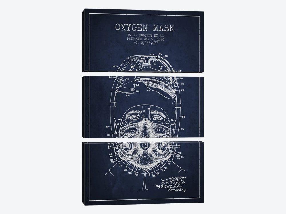 Oxygen Mask 1 Navy Blue Patent Blueprint by Aged Pixel 3-piece Canvas Print