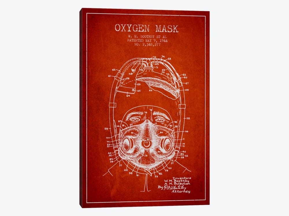 Oxygen Mask 1 Red Patent Blueprint by Aged Pixel 1-piece Canvas Artwork