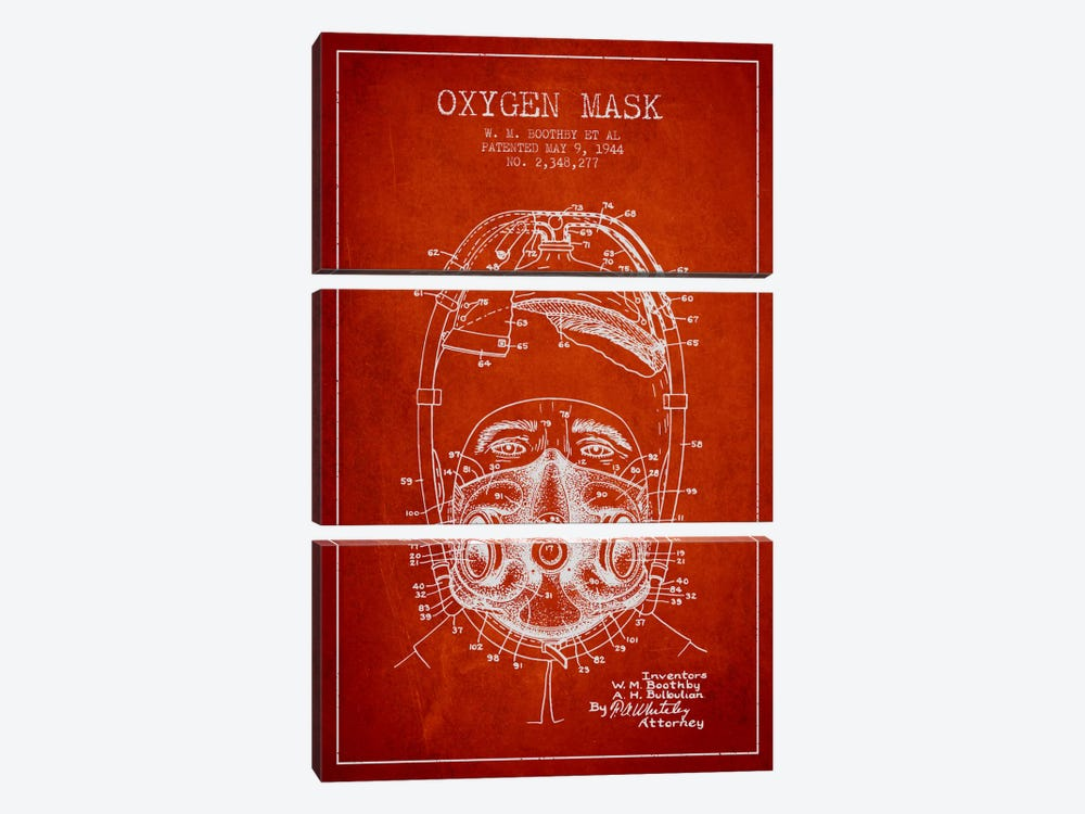 Oxygen Mask 1 Red Patent Blueprint by Aged Pixel 3-piece Canvas Wall Art