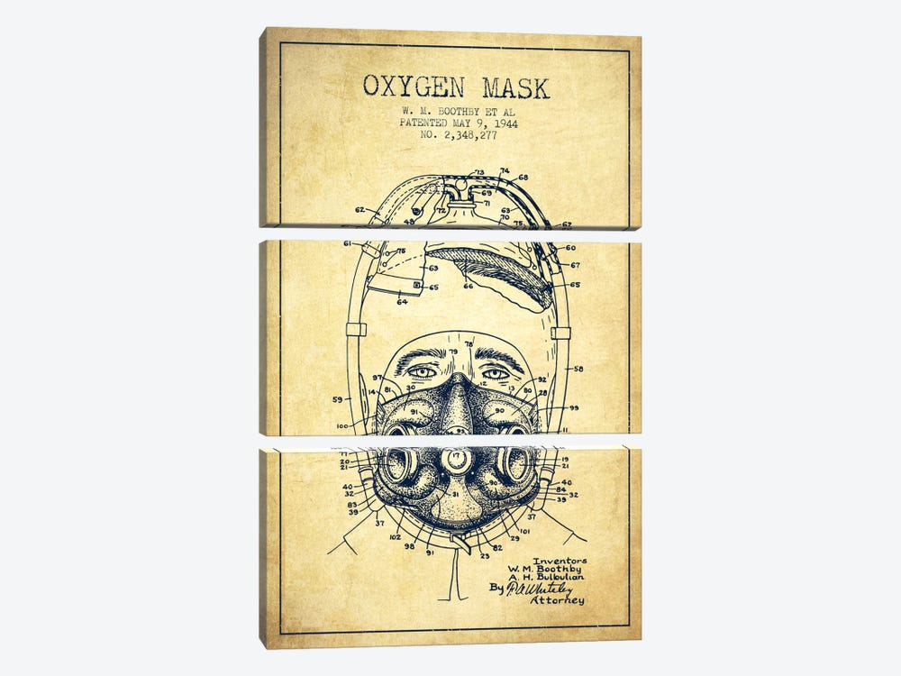 Oxygen Mask 1 Vintage Patent Blueprint by Aged Pixel 3-piece Art Print