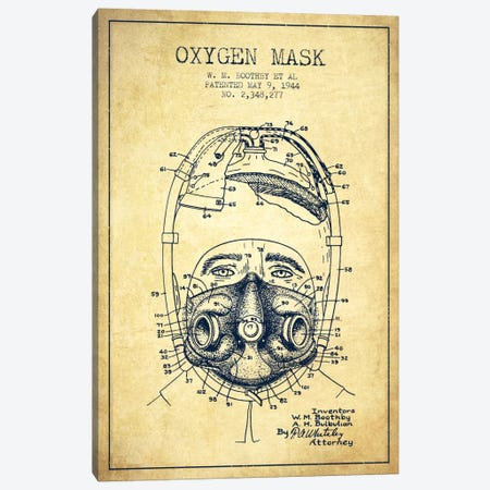Oxygen Mask 1 Vintage Patent Blueprint Canvas Print #ADP2389} by Aged Pixel Canvas Print