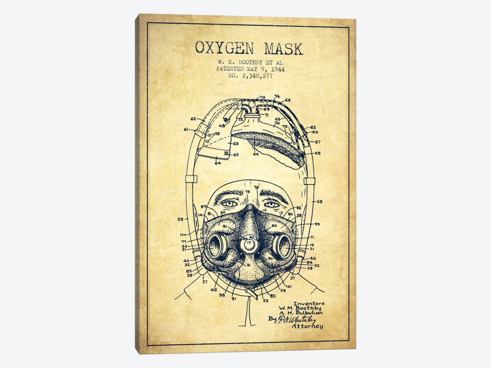 Oxygen Mask 1 Vintage Patent Blueprint by Aged Pixel 1-piece Canvas Art Print