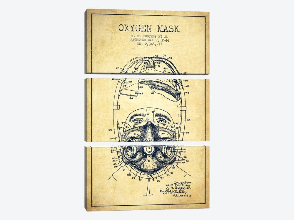 Oxygen Mask 1 Vintage Patent Blueprint by Aged Pixel 3-piece Art Print