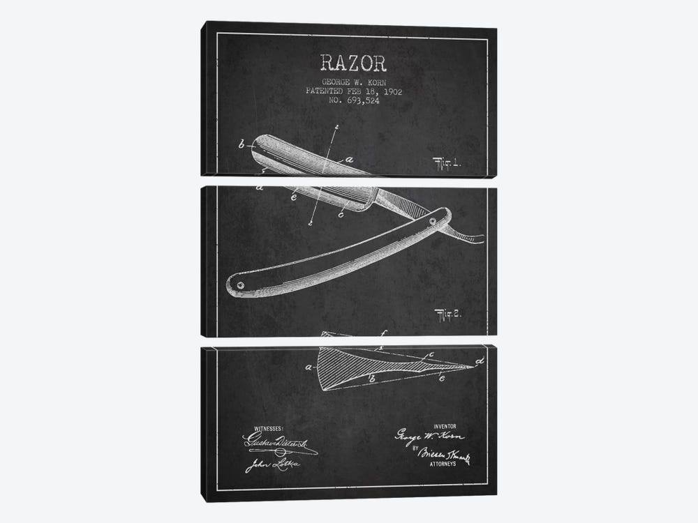 Razor Charcoal Patent Blueprint by Aged Pixel 3-piece Art Print