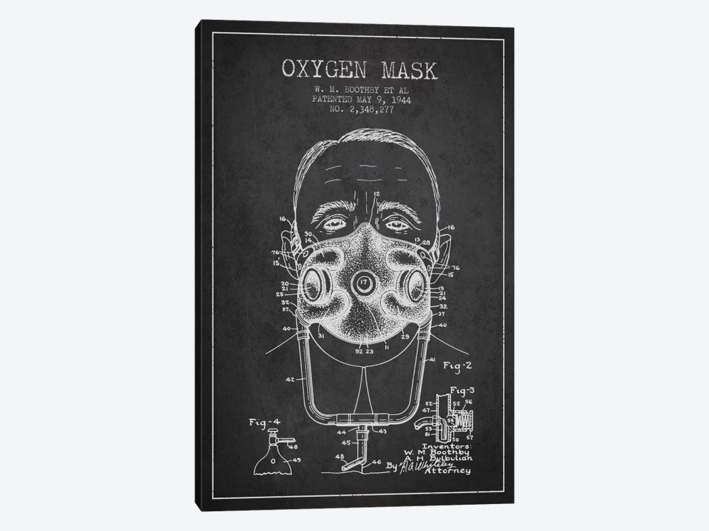 Oxygen Mask 2 Charcoal Patent Blueprint by Aged Pixel 1-piece Canvas Art Print