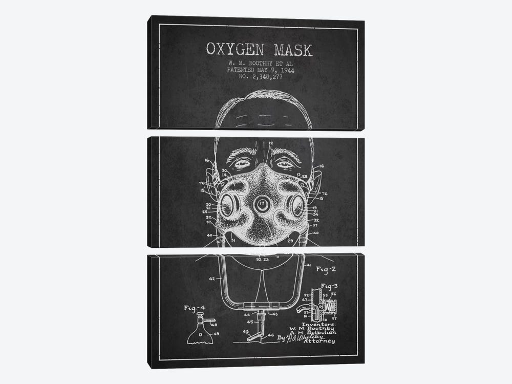 Oxygen Mask 2 Charcoal Patent Blueprint by Aged Pixel 3-piece Canvas Print