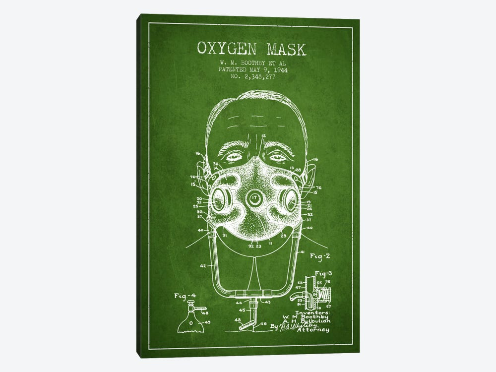 Oxygen Mask 2 Green Patent Blueprint by Aged Pixel 1-piece Canvas Artwork