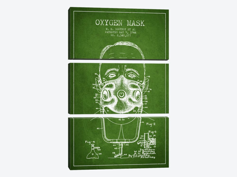 Oxygen Mask 2 Green Patent Blueprint by Aged Pixel 3-piece Canvas Artwork