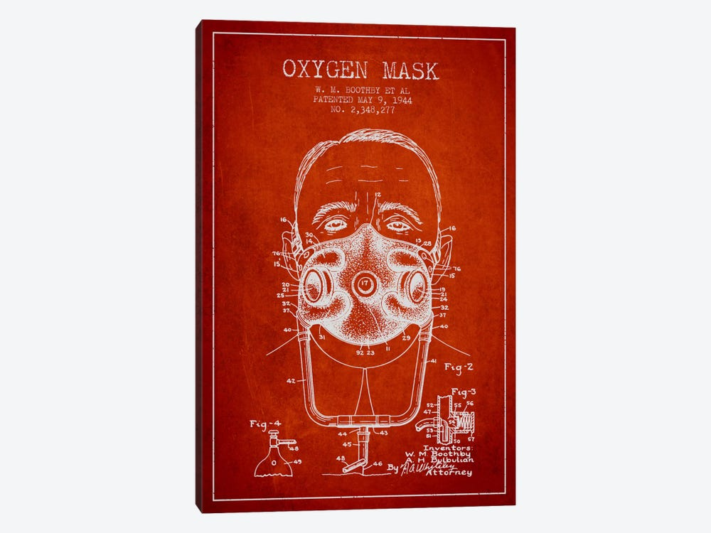 Oxygen Mask 2 Red Patent Blueprint by Aged Pixel 1-piece Canvas Art