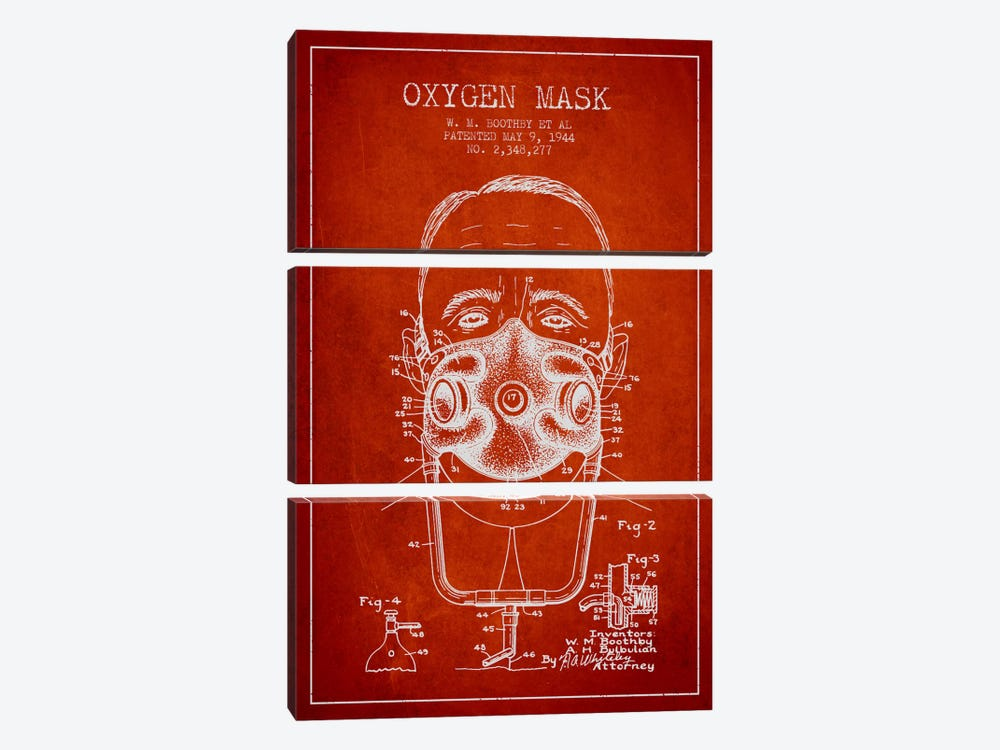 Oxygen Mask 2 Red Patent Blueprint 3-piece Canvas Artwork