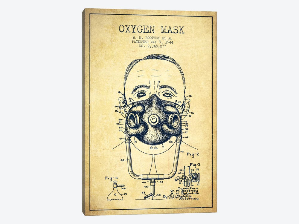 Oxygen Mask 2 Vintage Patent Blueprint by Aged Pixel 1-piece Canvas Art Print