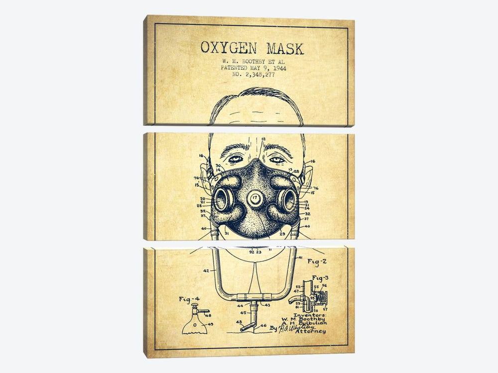 Oxygen Mask 2 Vintage Patent Blueprint by Aged Pixel 3-piece Canvas Print