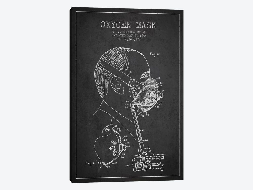 Oxygen Mask 3 Charcoal Patent Blueprint by Aged Pixel 1-piece Canvas Artwork