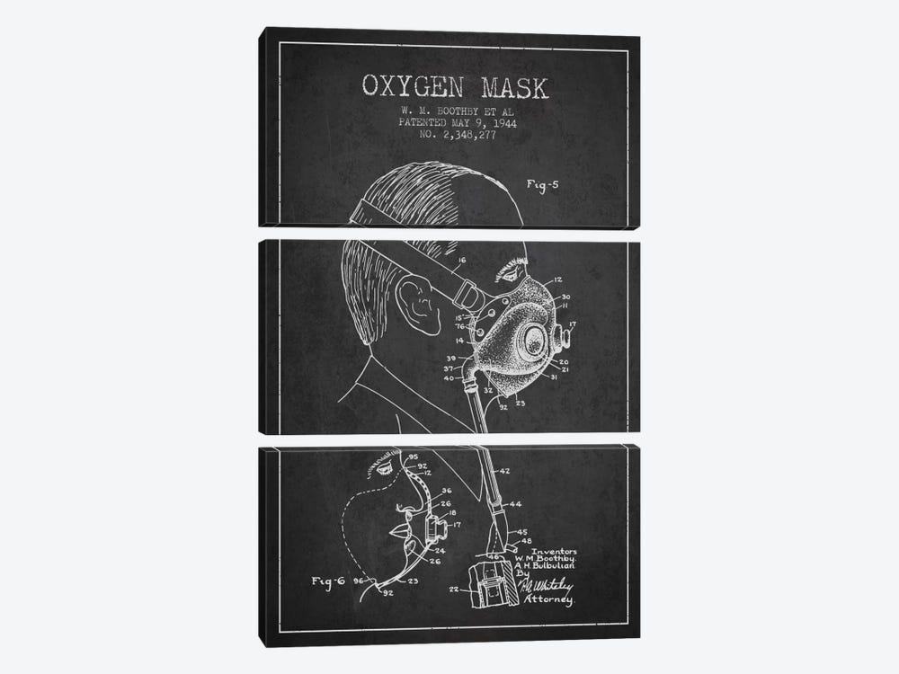 Oxygen Mask 3 Charcoal Patent Blueprint by Aged Pixel 3-piece Canvas Artwork