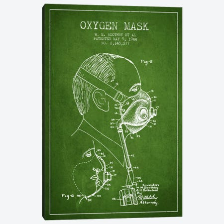 Oxygen Mask 3 Green Patent Blueprint Canvas Print #ADP2396} by Aged Pixel Art Print