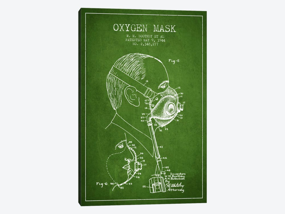 Oxygen Mask 3 Green Patent Blueprint by Aged Pixel 1-piece Canvas Print