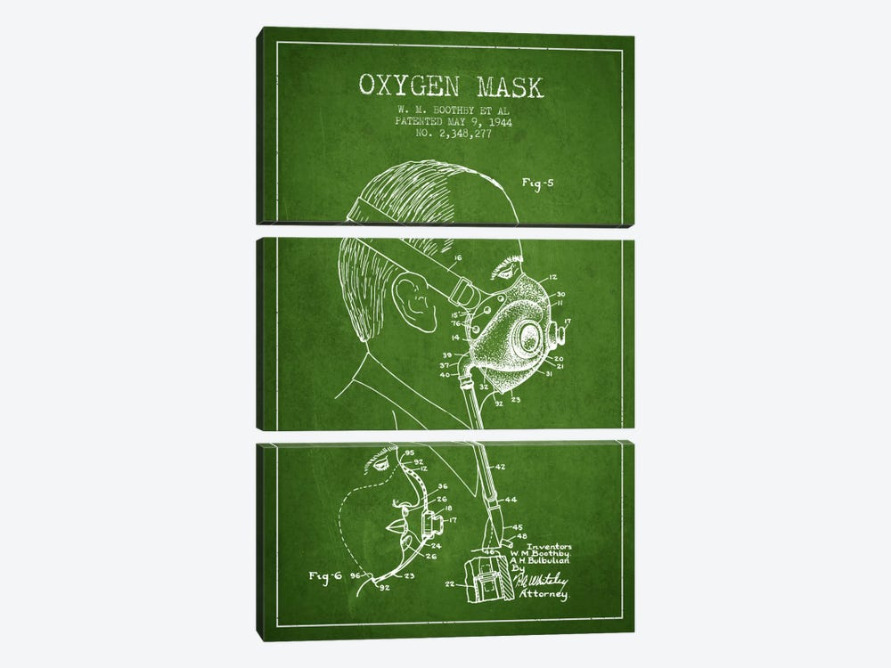 Oxygen Mask 3 Green Patent Blueprint by Aged Pixel 3-piece Canvas Print